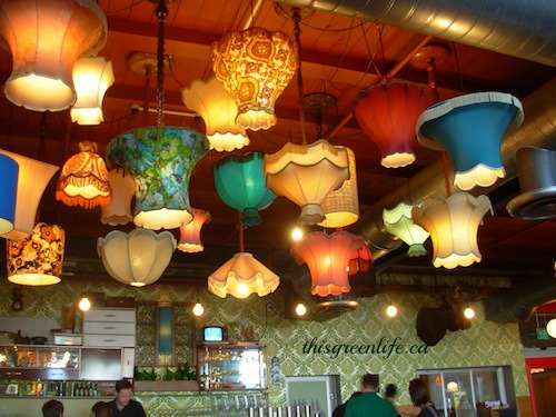 upside-down lampshades in pub