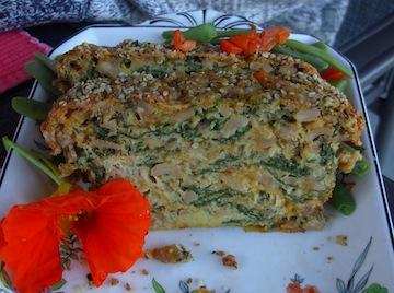 spinach nut loaf slice