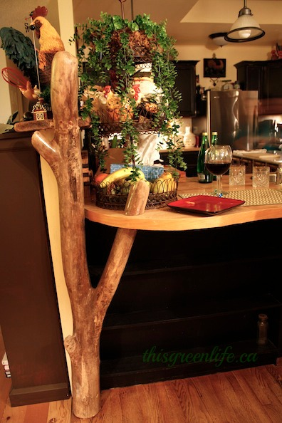 driftwood post in kitchen