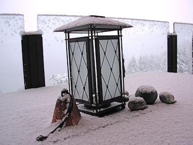 snow on lantern
