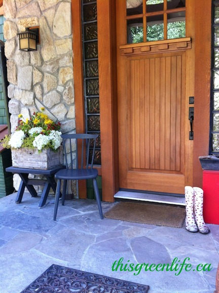 Craftsman front door with boots